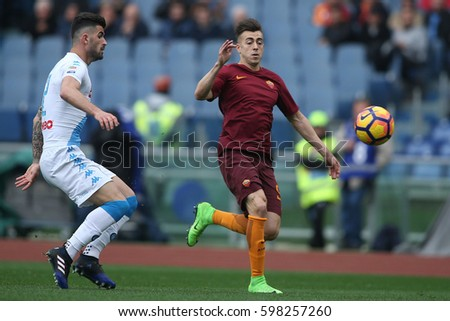 04.03.2017. Stadio Olimpico, Rome, Italy. Serie A Football. AS Roma versus Napoli.Hysaj and El Shaarawy  in action during the match.