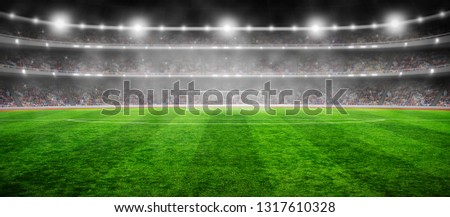 Stadium with the bright lights and green grass #1317610328