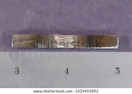 316 stainless steel weld coupon, electrolytically etched with NaOH