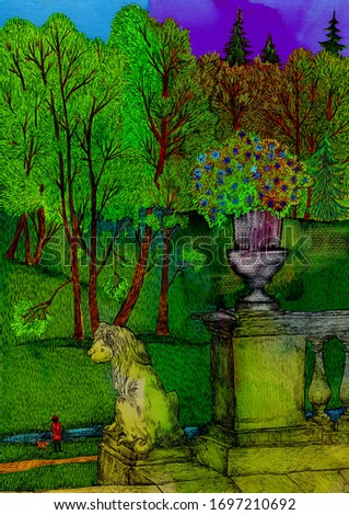 Staircase with a lion. Pavlovsky park. Digital illustration. Cute illustration for the decor and design of posters, postcards, prints, stickers, invitations, textiles and stationery.
