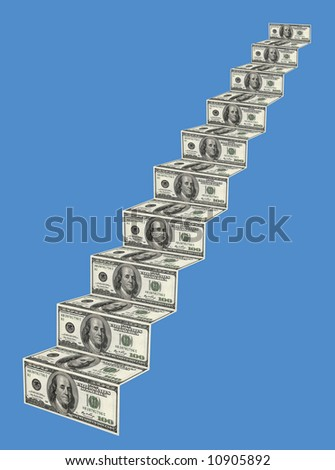 """Stairs to success"". Montage from 100$ banknotes, sharpness for all  field"