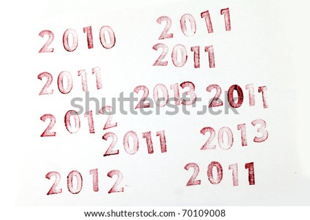 2010, 2011, 2012, 2013  stamps on a White Background..real rubber stamp