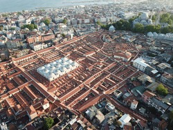 İstanbul Grand Bazaar Roof Aerial Drone View