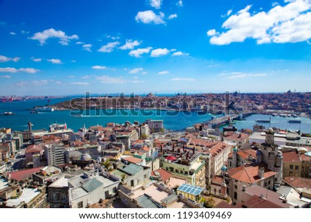 İstanbul karaköy, sarayburnu, haliç view from galata tower. Galata bridge, golden horn, Sultanahmet, Hagia Sophia are in the pic. Beautiful blue cloudy sky.