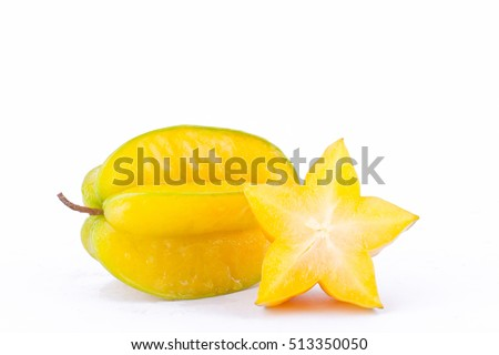 star fruit carambola or star apple ( starfruit ) on white background healthy star fruit food isolated ( side view )  Сток-фото ©