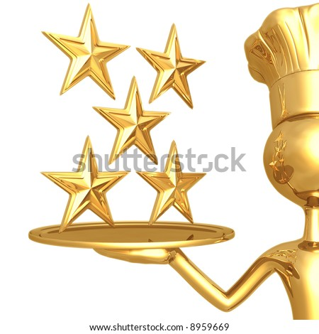 5 Star Restaurant Rating - stock photo