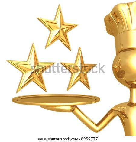 3 Star Restaurant Rating - stock photo