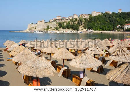"""Stari Grad"" Old Town from the beach of Ulcinj, Montenegro"