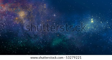 starry sky with the colors of the nebula