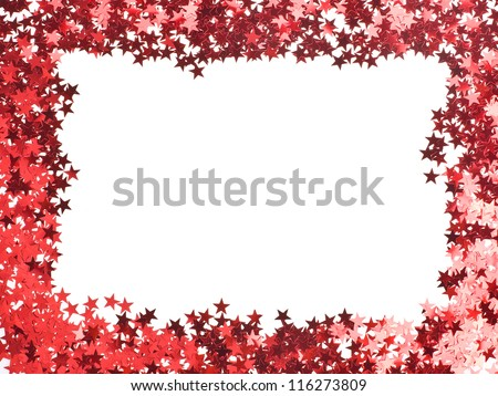 stars confetti , small red stars , rectangular shape frame,  isolated on white background