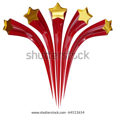 5 stars retro emblem, red and gold stars salute, vintage composition isolated on white background, 3d