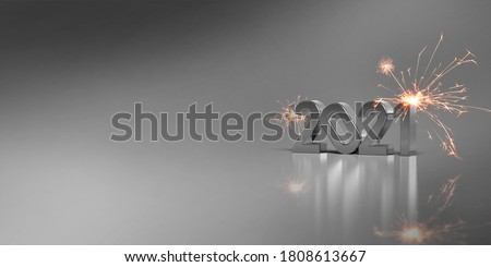2021 steal and sparks, grey background 3D rendering