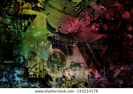 Steampunk abstract colorful industrial machines retro background