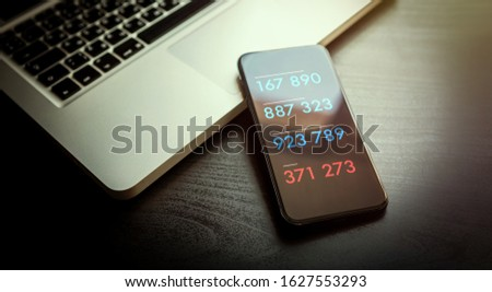 2-step authentication, two steps Verification SMS code password concept. Smartphone with special 2FA software for Secure and reliable access to the network, websites, mobile banking or applications