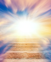 Steps leading up to the sun.  Way to God .  bright light from heaven .  Religious background  . Beautiful sky . Sunrise . Light from sky . solar explosion .
