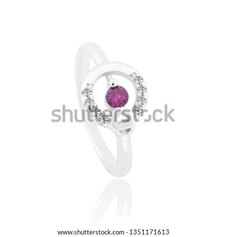 925 Sterling Silver Ring Decorated with Solitaire Pink Stone And White Stone on White Background