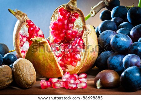 ,still life of autumnal foods,