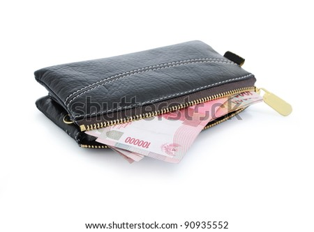 still life photo of wallet and money isolated on white