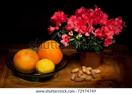 Still life with flowers, fruit and nuts