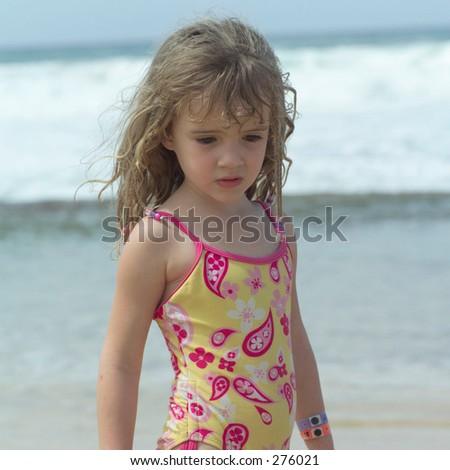 """STOCK - Close-up of a young girl on a beach, Kauai, Molokai, Hawaii, February 2004 (Keith Levit)"""