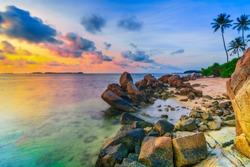 Stone Formation lined stones on the beach of Trikora island bintan