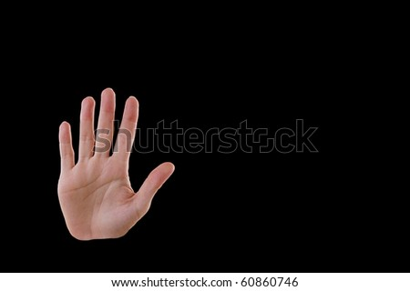 """Stop"" Hand Gesture, Isolated on Black"