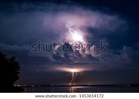storm over the lake summer night