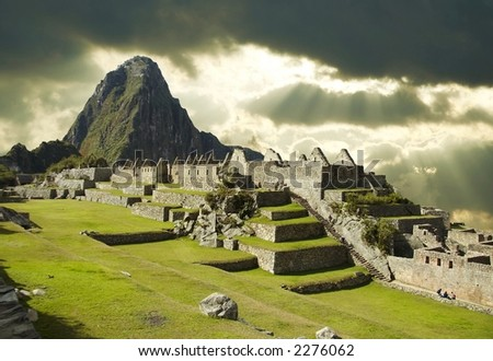 Storm weather in Machu-Picchu city