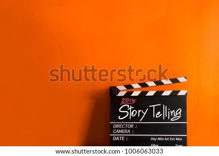 2018 story telling text title on film slate
