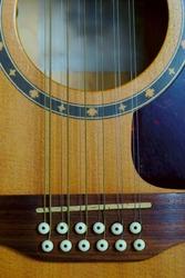 12-string electro-acoustic guitar, bridge detail, violin