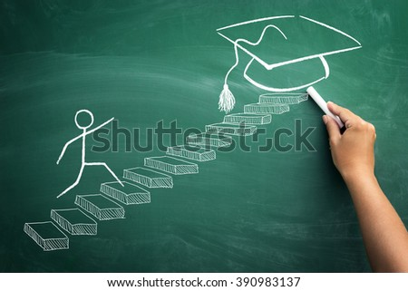 Student making steps to his graduation