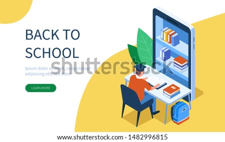 Student studying at home. Can use for web banner, infographics, hero images. Flat isometric illustration isolated on white background.
