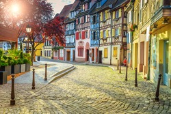 Stunning colorful ornamented facades in medieval Little Venice district, Colmar, Alsace, France, Europe