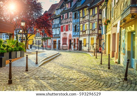 Stunning colorful ornamented facades in medieval Little Venice district, Colmar, Alsace, France, Europe #593296529