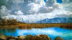 Stunning Mountain View over Utah Lake at Utah Lake State Park Provo Utah February 2021