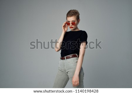 stylish woman on a gray background fashion beauty fashion                              #1140198428