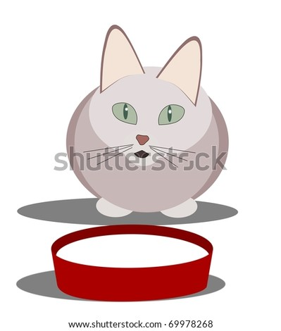 Stylistic designed cat sitting by a bowl  of milk