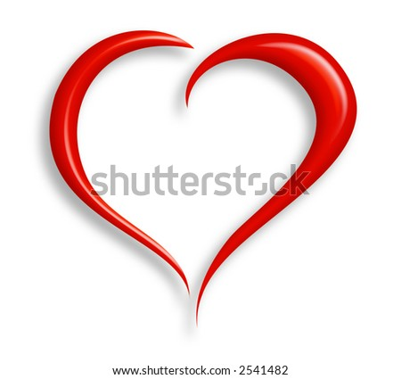Stylized valentine heart made from two swashes and isolated on white.