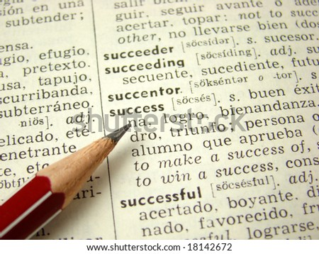 'success' word in English-Spanish dictionary with pencil