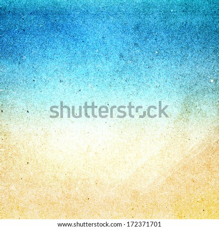 Summer beach recycled paper textured background with film grain. Abstract  grunge paper texture.  Highly detailed frame.