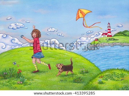 Stock Photo  Summer landscape with a girl running on a hill, playing with a kite and her cute dog. Watercolor children's illustration.