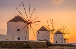 Sun set view of famous and traditional greek windmills in Mykonos island,