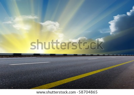 Sun   sky  clouds sunrise - stock photo