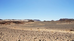 Sunny landscape in a hot rocky desert