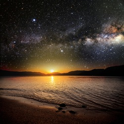 sunrise sea on the background star and sky . Elements of this image furnished by NASA