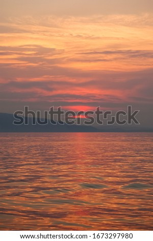 Sunset on the beach Banja in the town of Senj, on the Croatian coast  Stock fotó ©