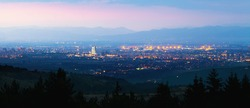 sunset over the city , panorama from mountains near Sofia, Bulgaria