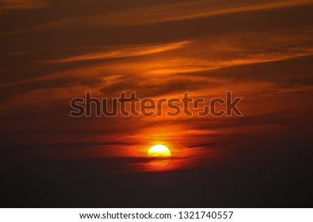 Sunset sky stratosphere background with rivers,Orange sunset sky stratosphere background with rivers. #1321740557