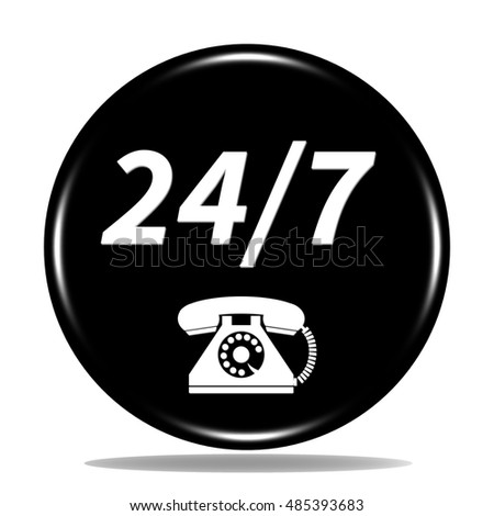 24/7 support phone icon. Internet button . 3d illustration