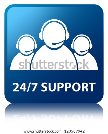 24/7 support team glossy blue reflected square button